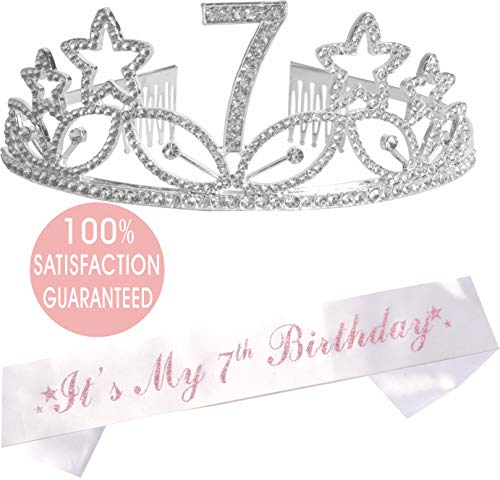 7th Birthday Tiara and Sash| Happy 7th Birthday Party Supplies|