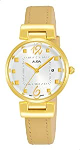Alba AH7Q80X1 Analog Leather Casual Watch for Women - Flax Yellow