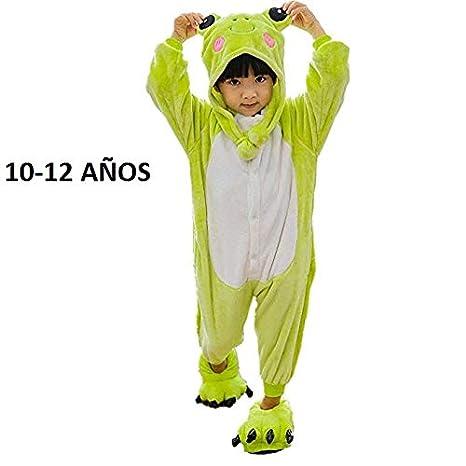 KRAZY TOYS Pijama Animal Entero Unisex para Niños como Ropa de Dormir-Traje de Disfraz para Festival de Carnaval (Rana, 10-12)