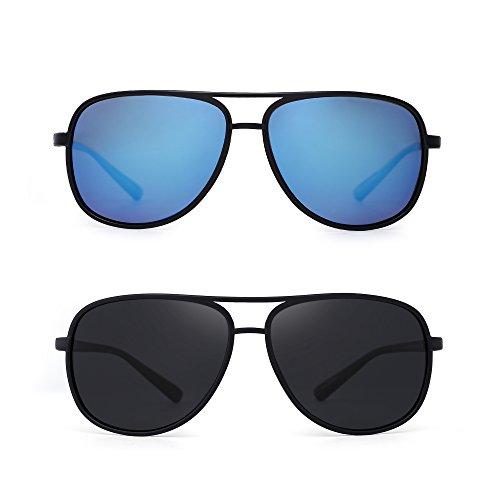 06505ce498c Amazon.com: Retro Polarized Aviator Sunglasses Mirror Lightweight  Eyeglasses for Men Women 2 Pack (Blue & Grey): Clothing