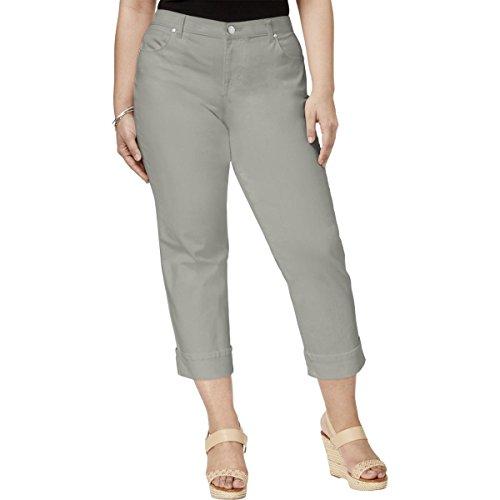 Style & Co. Womens Plus Twill Cuffed Capri Pants Gray - Twill Cuffed Capri