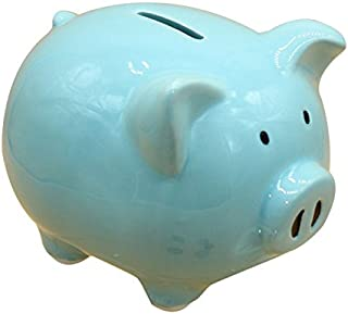 ZCHING Pig Piggy Bank Ceramic Savings Coin Banks for Kids Baby Girl Gift Personalized Nursery Decor … (style2-blue)