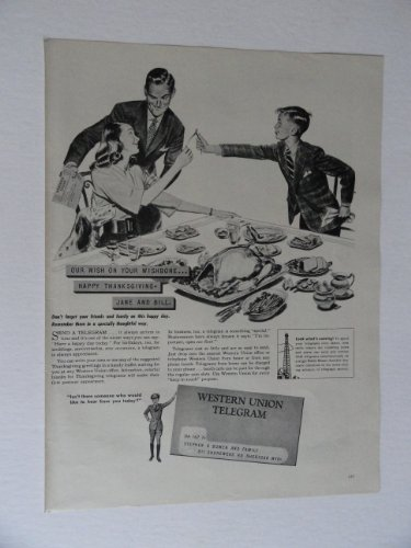 (Western Union Telegram, 40's Print Ad. full page B&W Illustration, painting (happy thanksgiving/our wish on your wishbone) Original Vintage 1946 Life Magazine Print art ***store link)