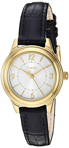 Timex Women's TW2R86100 Basics 26mm Black/Gold-Tone/Silver-Tone Croco Pattern Leather Strap Watch