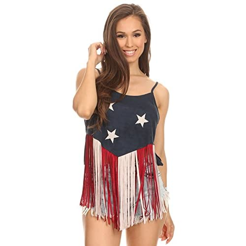 a7442172ab1f2b MeshMe Womens Shelby - Faux Suede Stars   Stripes Fringed Cami Top low-cost