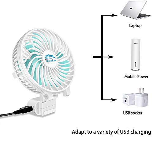 HandFan Portable Handheld Fan, Mini Hand Fan/Small Desk Fan Folding Change 5-18 Hours Working Time Personal Fan Rechargeable Battery/USB Operated Electric Fan Handle is 5200mA Power Bank(Power White) by HandFan (Image #2)