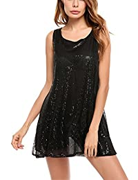 Meaneor Women's Sleeveless Sequin Tunic Tops Sexy Glitter Club Party Mini Dress