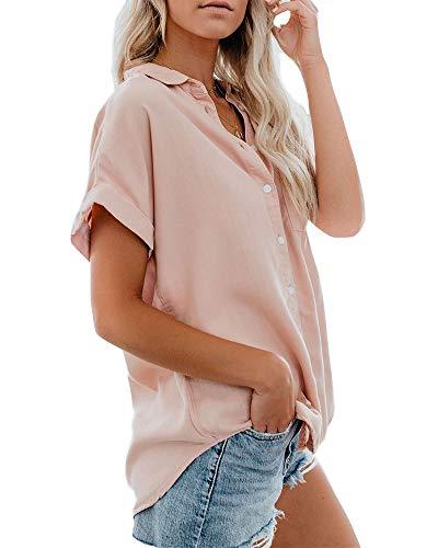 Niitawm Womens Short Sleeves Blouses Chiffon Tank Shirts Button Pockets V Neck Loose Fit Casual Sleeveless Top ()