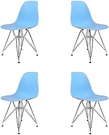 Ventamueblesonline Pack 4 SILLAS Tower Chrome Azul Celeste Extra Quality: Amazon.es: Hogar