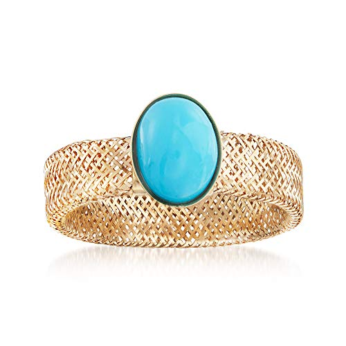 Ross-Simons Italian Reconstituted Turquoise and 14kt Yellow Gold Mesh Stretch Ring - Mesh Yellow Ring
