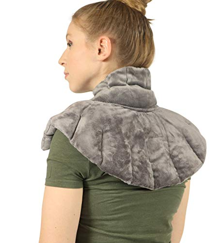 Heated Microwaveable Neck and Shoulder Wrap - Herbal Hot/Cold Deep Penetrating Herbal Aromatherapy (Charcoal) - Lavender Spa Heat Wrap