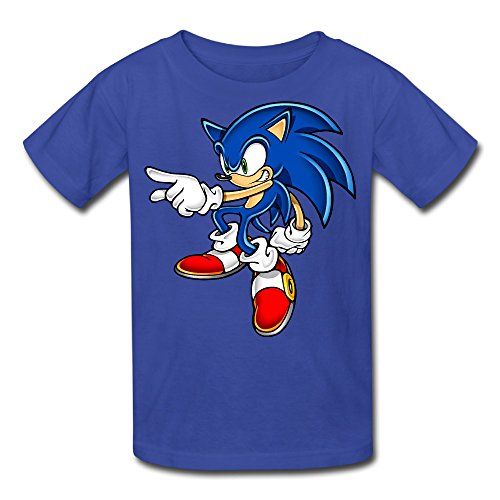 Kid's 100% Cotton Sonic Art Assets Dvd Sonic The Hedgehog 16 Funny Quotes T-Shirt RoyalBlue US Size L
