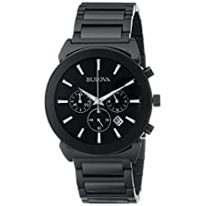 Bulova Men's 98B215 Analog Display Japanese Quartz Black Watch