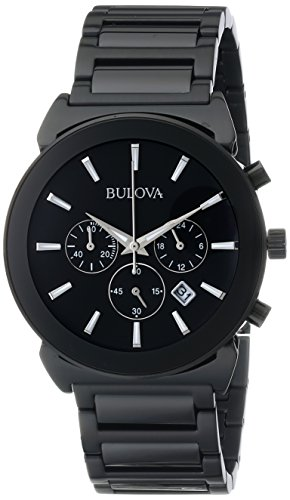 Bulova Men's 98B215 Analog Display Japanese Quartz Black Watch ()