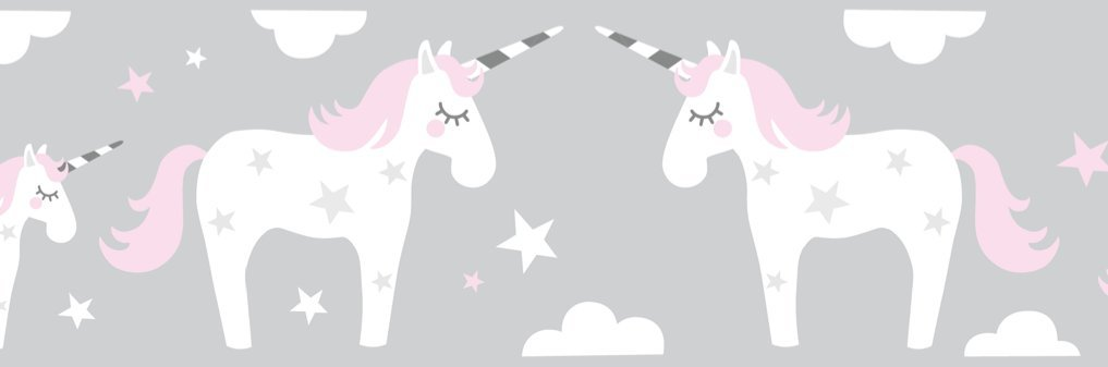 lovely label Wallpaper Border for Kids - Unicorn Wall Stickers for Children's Playroom or Bedroom in Pink/Grey - Self-Adhesive Wall Border Stickers - Wall Decal and Stickers for Children