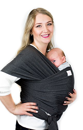 Cutie Carry Baby Wrap Carrier-for Infants and New Born-Up to 35 lbs-Available in 4 Colors-One Size Fits All-Baby Sling, Nursing Cover-Hands free baby wearing-Great Baby Shower Gift-Dark Grey Heather