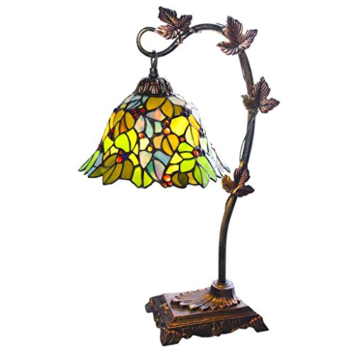 Tiffany Style Stained Glass Table Lamp: 23 Inch Victorian Style Colorful Floral Leaf Accent Lamp with Vintage Bronze Tree Branch Base - High-End, Decorative Arched Lamps for Small Elegant Home Decor - Green
