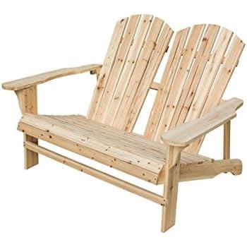 California Patio Wooden Double Adirondack Chair Loveseat