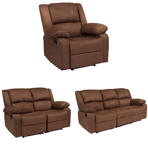Flash Furniture Harmony Series Chocolate Brown Microfiber Reclining Sofa Set