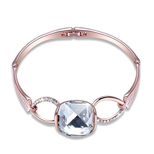 """[GEORGE SMITH Modern""""Music Paradise""""Womens Rose Gold Plated Bangle Bracelet with Pure Swarovski Crystal Jewellery Anniversary Birthday Gifts for Wife] (Rose Gold Costume Jewellery)"""