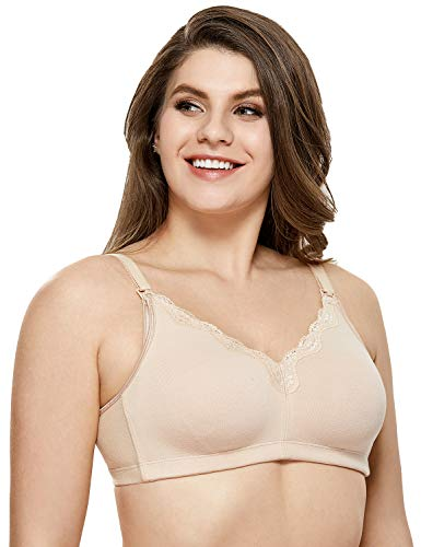 Gratlin Womens Full Support Comfort Plus Size Cotton Maternity Nursing Bra