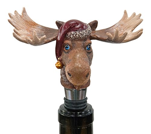 Blue Eyed Moose With Santa Hat Holiday Wine Bottle Topper Stopper