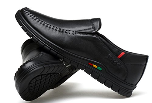 Abby 1676 Mens Latest Fashion Casual Pump Round Toe Slip On Leather Shoes Red Black UHP8k