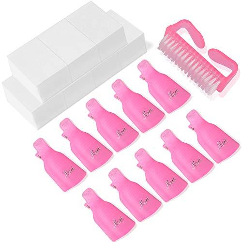 Step Nail Polish Remover Pads - Nail Polish Remover Clips,TsMADDTs 600Pcs Nail Wipe Cotton Pads 10 Pcs Nail Clips 1 Pcs Handle Grip Nail Brush