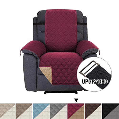 H.VERSAILTEX Slip Resistant Recliner Slipcover Protector, Recliner Chair Covers Stay in Place, Reversible Quilted Plush Furniture Recliner Protector with Elastic Straps (Recliner: Burgundy/Tan) ()
