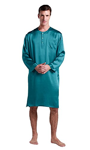 LilySilk Silk Nightshirts For Men Charmeuse Long Sleeve 22 Momme Pure 100 Mulberry Silk Robe Soft Dark Teal X-Large by LilySilk (Image #1)