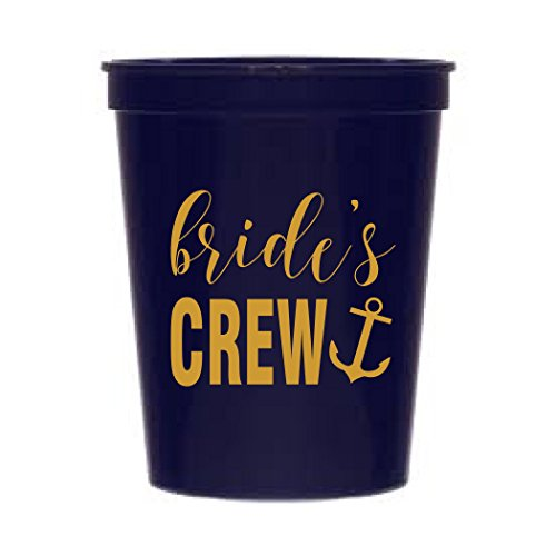 Bride's Crew Navy Blue and Metallic Gold Nautical Bachelorette Party Stadium Cups