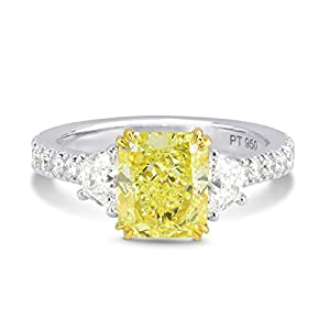 3.08Cts Yellow Diamond 3 Stone Ring Set in Platinum GIA Certified Size 6