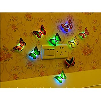 Tuscom Auto-Change 7 Different Colors Lamp Home Room Party Desk Wall Decor Colorful Changing Butterfly LED Night Light with Suction Pad 5PC//Random