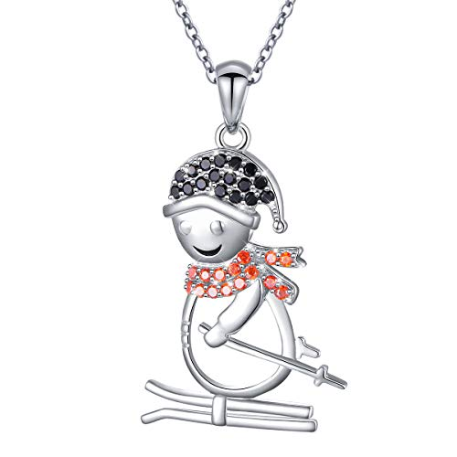 925 Sterling Silver Gift Cute Skiing Snowman Pendant Necklace for Women Girls Boys,18 inch]()