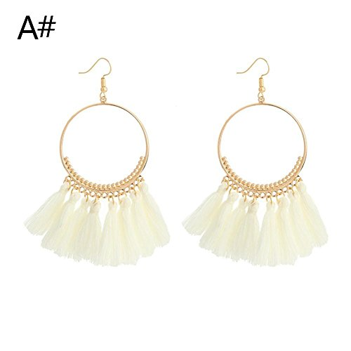 RoseSummer Women Circular Round Thread Tassel Earrings Bohemia Drop Statement Fringe Earrings (White Circular Earring)