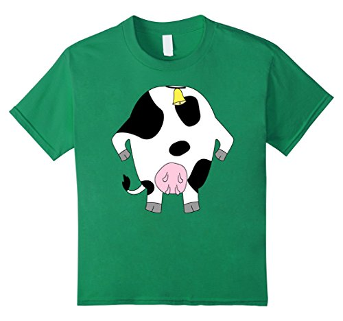 Kids Funny Cow Costume Shirt - Hilarious Easy Halloween Gift Tee 4 Kelly Green