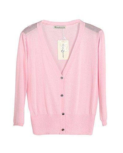 Donne Maglia Pink Maglione 3 Liangzhu Manica Anteriore Cardigan Aperto Cappotto 4 Zd6cxUW