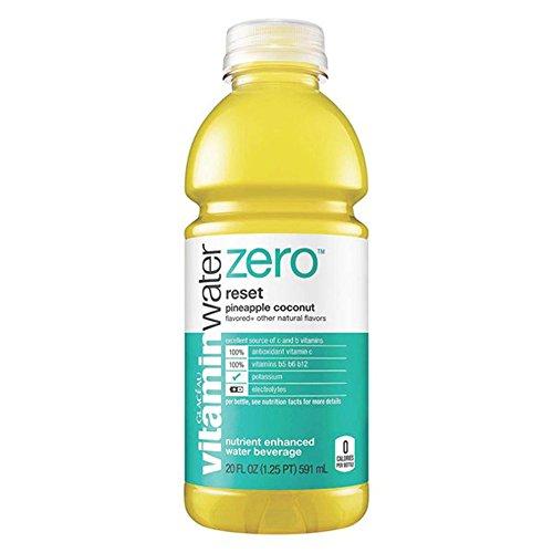Glaceau Vitamin Water Zero Reset Pineapple Coconut 20 oz Plastic Bottles - Pack of 24
