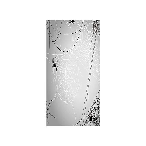3D Decorative Film Privacy Window Film No Glue,Spider Web,Spiders Hanging from Webs Halloween Inspired Design Dangerous Cartoon Icon Decorative,Grey Black White,for -