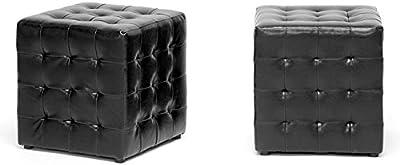 Porch & Den Victoria Park Las Olas Black Cube Ottoman (Set of 2)