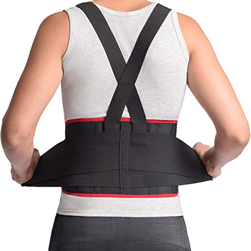 MAXAR Breathable Lower Back Support with Detachable Suspenders IBS-3000: Black Large