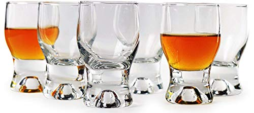 Circleware 42781 Tipsy Shot, Set of 6 Heavy Base Glassware Drinking Glass Cups for Whiskey, Vodka, Brandy, Bourbon, and Best Selling Liquor Beverage Bar Dining Decor Gifts, 2 oz, Clear