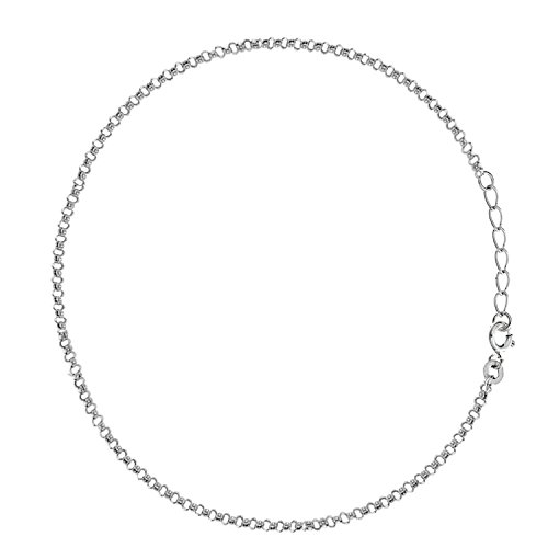 Sterling Silver Rolo Link Chain Anklet Ankle Bracelet 9-10 inches (Sterling Link Rolo Chain Silver)