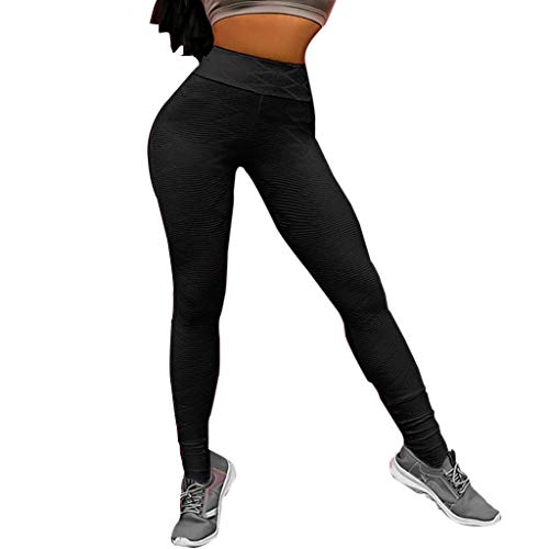 (Yoga Pants for Women,High Waist Yoga Pants Skinny Booty Leggings for Tummy Control Workout Ruched Butt Lifting Yamally Black)