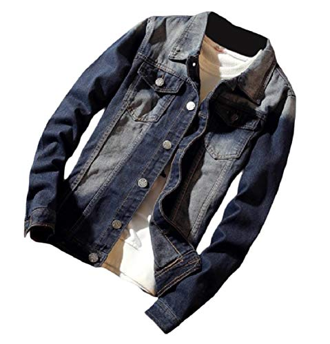 Down Standard Lapel Button Denim Jacket Outwear Washed fit Men's Cardigan XINHEO AS1 wUZxgpaqZ