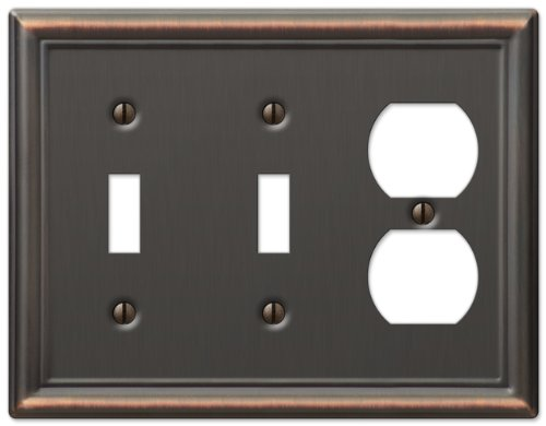 Double Outlet Switch - AmerTac 149TTDDB Chelsea Steel Double Toggle/Single Duplex Wallplate, Aged Bronze