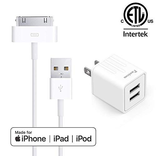 (Pantom, 30-Pin Cable and 2.1A Dual USB Port Wall Charger Compatible with iPhone 3, 3GS, 4, 4S, iPad 1, 2, 3, iPod Touch 2, 3, 4, iPod Nano 4, 5,)