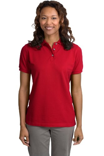 Port Authority Ladies Pique Knit Sport Shirt, 3XL, Red
