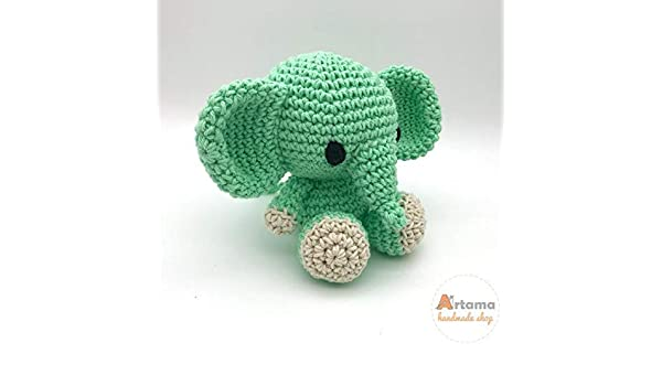 Isolated Crochet Amigurumi Toy Gray Elephant Blue Bow Neck Black ... | 350x600
