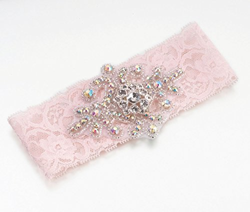 Lillian Rose Elegant Jeweled Pink Lace Leg Garter Prom Wedding ()